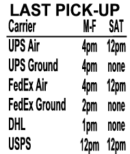Last Pick-up Times For Carriers:  UPS Air weekdays 4pm Saturdays Noon, UPS Ground weekdays 4pm Saturdays no pickup,  FedEx Air  weekdays 4pm  Saturdays Noon.  FedEx Ground  weekdays 2pm  Saturdays no pickup,  DHL  weekdays 1pm  Saturdays no pickup,  USPS  weekdays and Saturdays noon  -- Bonsall Postal and Imaging, 5256 South Mission Road, Suite 703, Bonsall, CA 92003